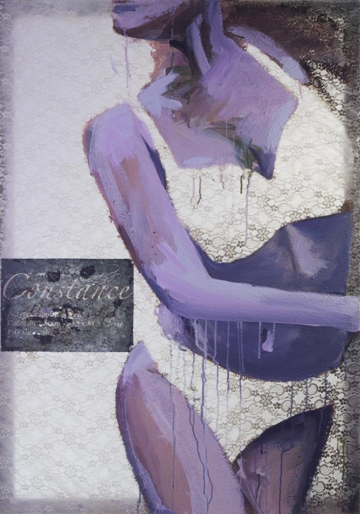 Constance acrylique sur dentelle 85x120,( cm