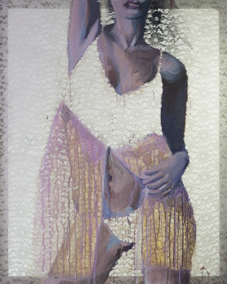 Lisa 87x109,5 cm acrylique sur dentelle