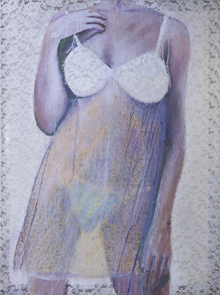 Rihana 82x109,5 cm acrylique sur dentelle